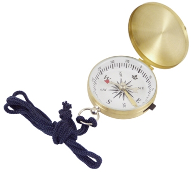 Compass with stopper -  brass finish with lace -  diam : 1''3/4 - marine style - marine decoration