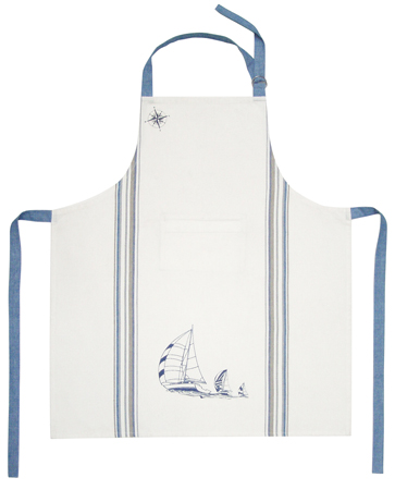 Beautiful kitchen accessory: Cotton Apron - Regatta - size réglable- invisible neck pocket - marine