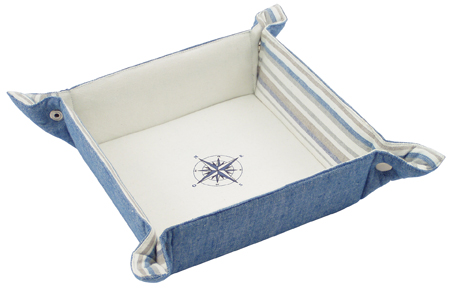 Beautiful table accessory: Bread basket in cotton - Regatta - snap - marine style - marine decoratio