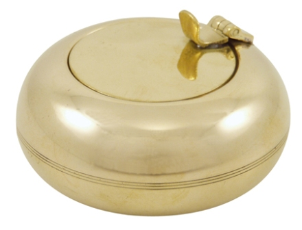 Brass pocket ashtray with internal cigarette lying inside the lid -  diam : 2'' - marine style - mar