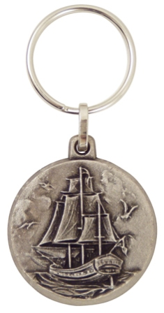 3 mast ship -  old silver looking -  diam : 1''3/5 - marine style - marine decoration