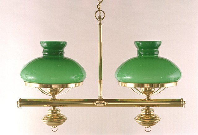 Lampe double en suspension avec opaline dcoration marine - Lampe de chevet verte ...